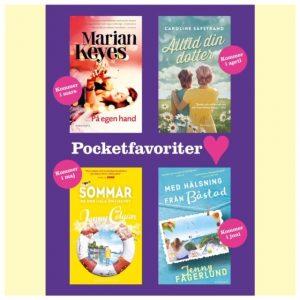 Affisch med fyra pockettips från pocketshop: Jenny Colgan, Marian Keyes, Caroline Säfstrand och Jenny Fagerlund
